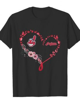 Butterfly love cleveland indians flowers heart shirt