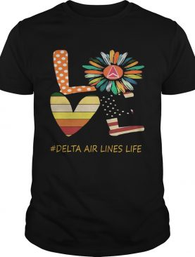 Love delta air lines life flower american flag vintage shirt
