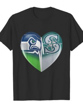 Seattle seahawks and seattle mariners heartbeat heart shirt