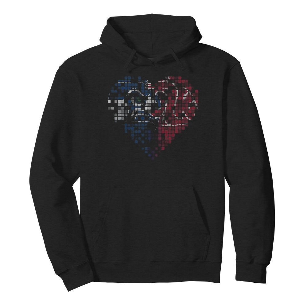 Seattle seahawks and washington state cougars heart puzzle  Unisex Hoodie