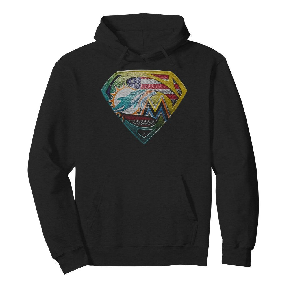 Superman miami dolphins american flag independence day  Unisex Hoodie