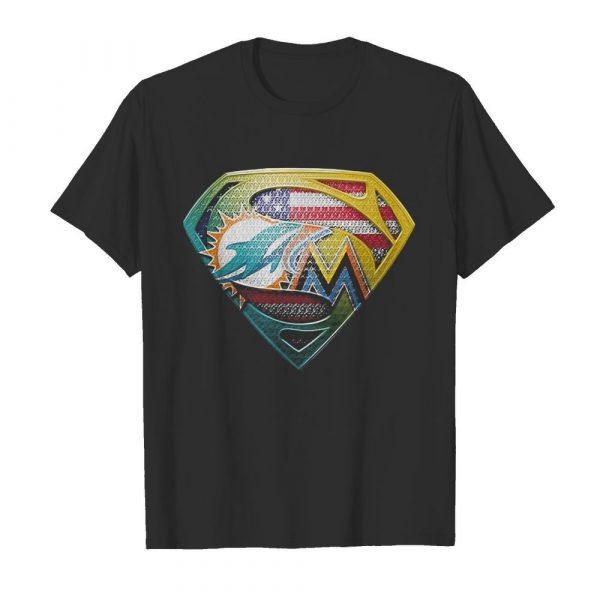 Superman miami dolphins american flag independence day shirt