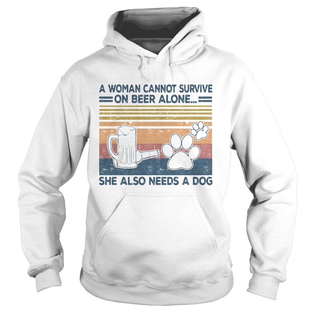 A Woman Cannot Survite On Beer Alone She Also Needs A Dog Vintage Retro  Hoodie
