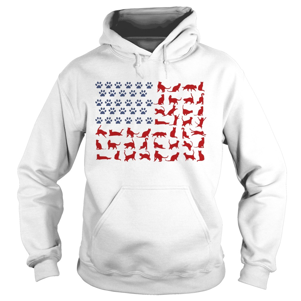 Cat yoga paw American flag veteran Independence Day  Hoodie