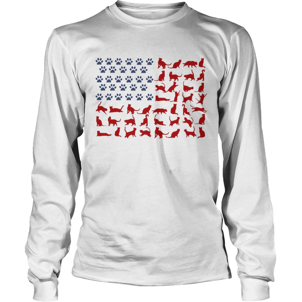 Cat yoga paw American flag veteran Independence Day  Long Sleeve