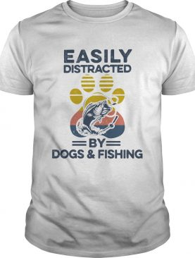 Easily Distracted By Dogs And Fishing Footprint Vintage Retro shirt