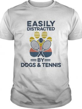Easily Distracted By Dogs And Tennis Footprint Vintage Retro shirt