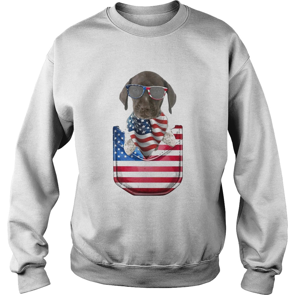 German shorthaired pointer pocket american flag independence day  Sweatshirt