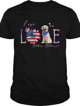 Golden retriever live love paw sunflower American flag veteran Independence Day shirt