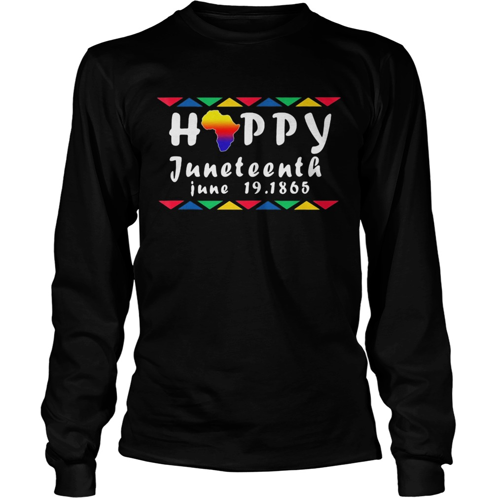 Happy juneteenth june 19 1865 americas map  Long Sleeve