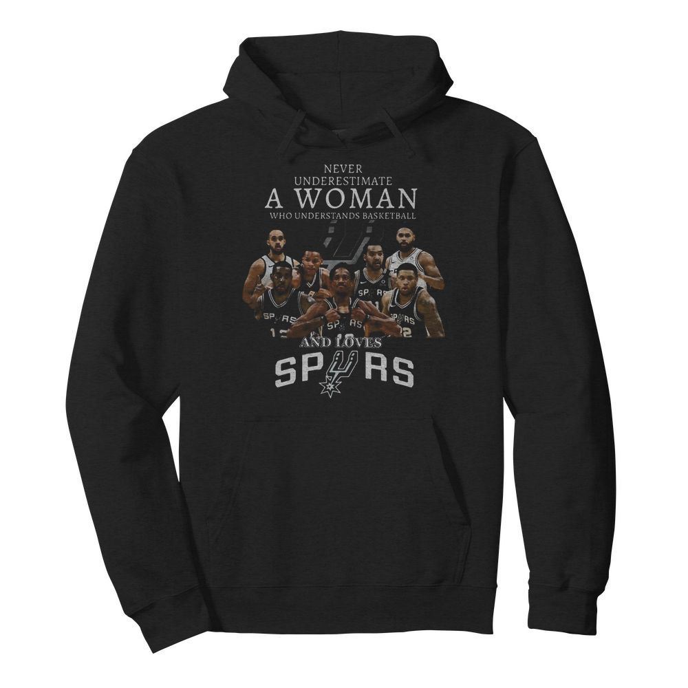 Never Underestimate A Woman Who Understands Basketball And Loves San Antonio Spurs  Unisex Hoodie