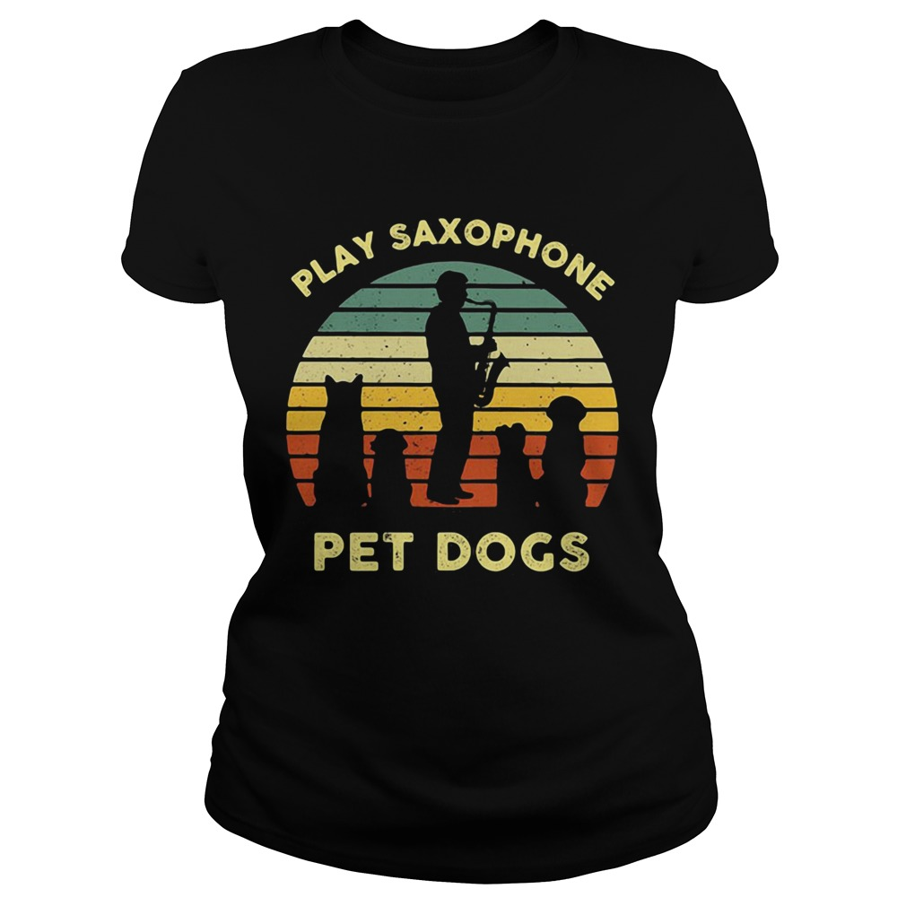 Play Saxophone Pet Dogs Vintage Retro  Classic Ladies