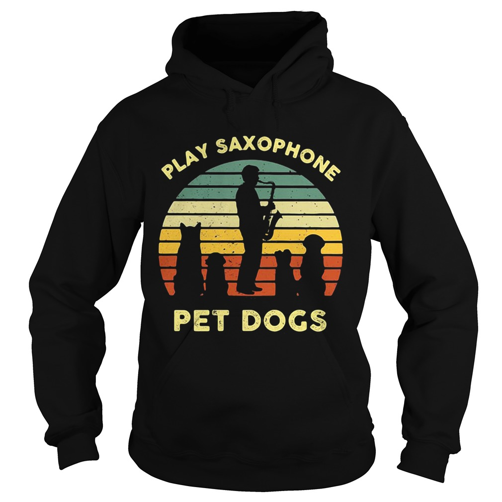 Play Saxophone Pet Dogs Vintage Retro  Hoodie