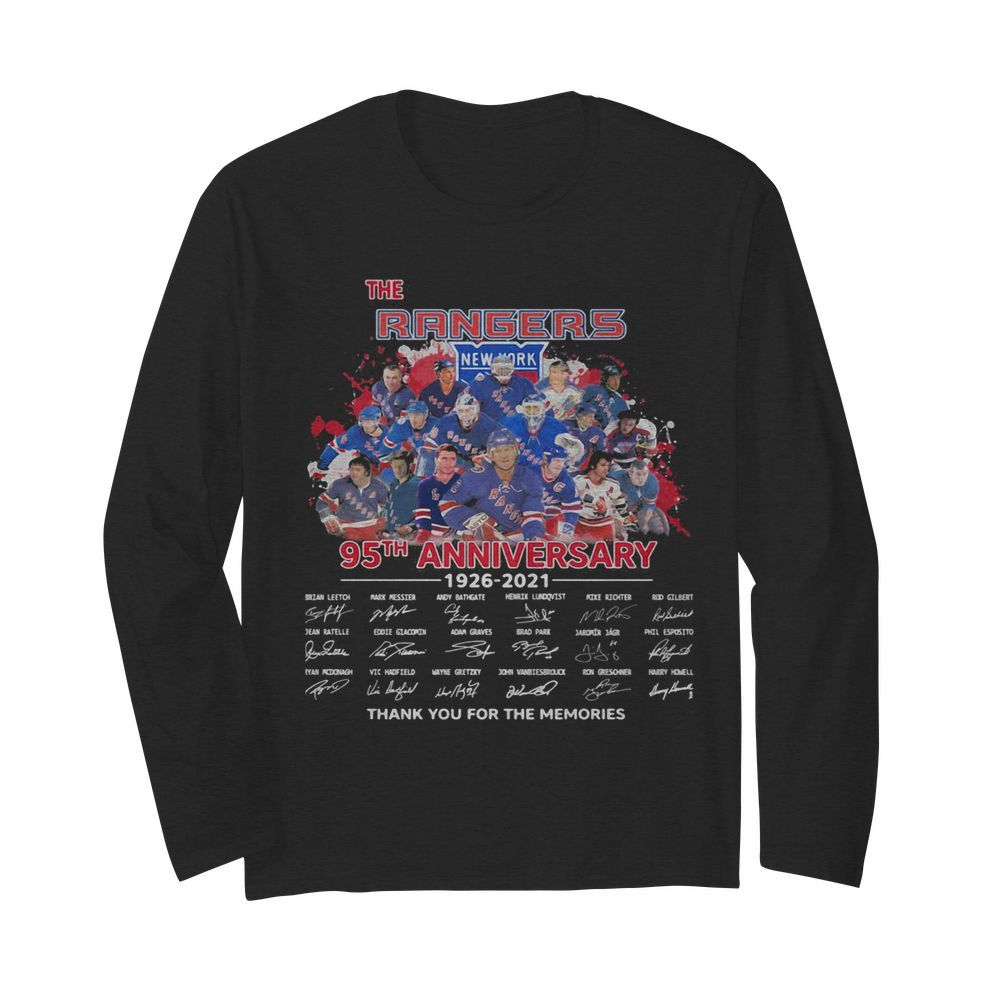 The new york rangers 95th anniversary 1926 2020 thank you for the memories signatures  Long Sleeved T-shirt