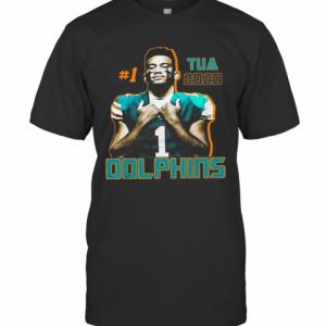 1 Tua Tagovailoa 2020 Miami Dolphins Football T-Shirt