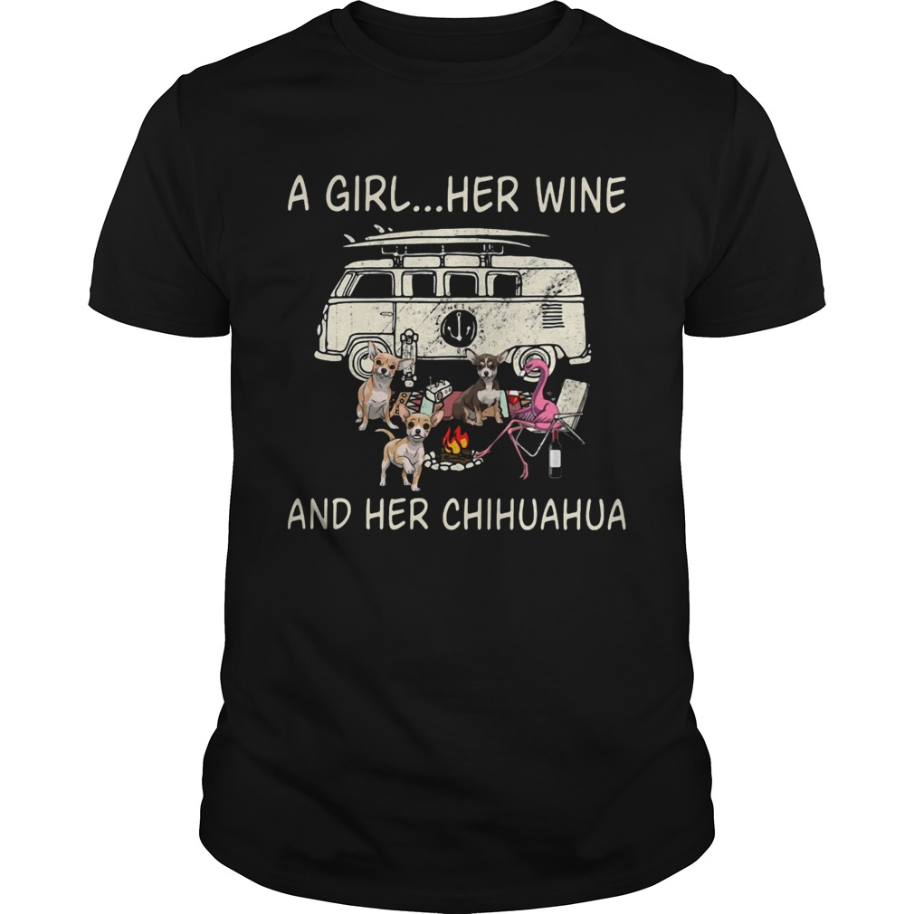A Girl Her Wine And Her Chihuahua Flamingo Fire Bus  Unisex