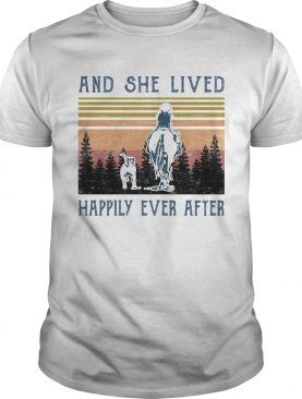 And She Lived Happily Ever After Dog Horse Girl Vintage Retro shirt