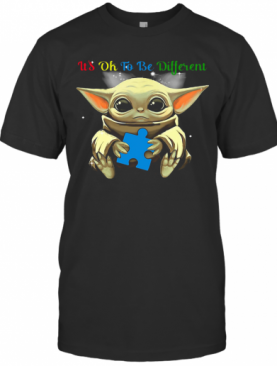 Baby Yoda Hug Autism Awareness It'S Ok To Be Different T-Shirt