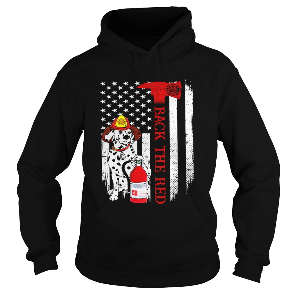 Firefighter Dog Back The Red American Flag  Hoodie
