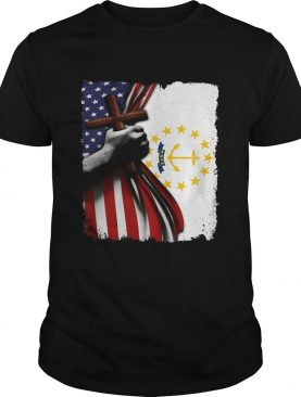 Rhode island american flag cross happy independence day shirt