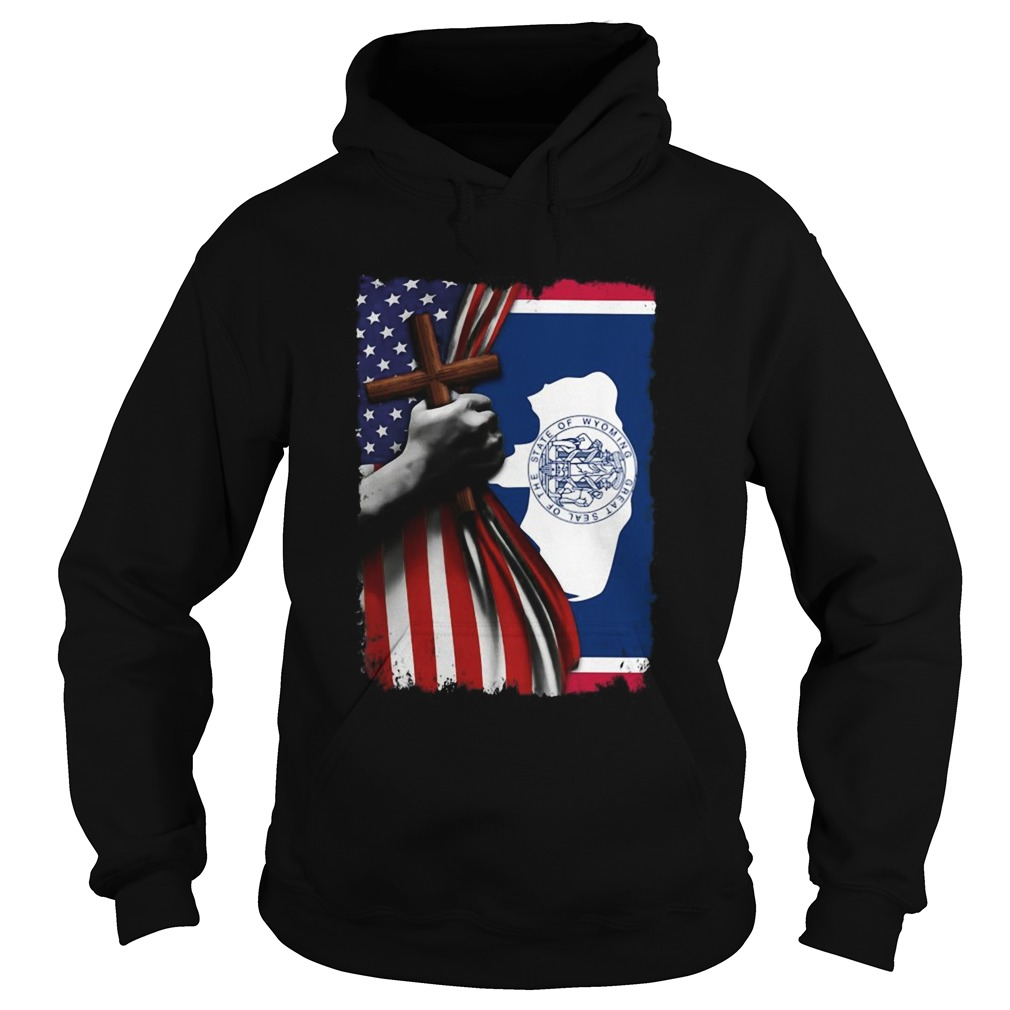 Wyoming american flag cross happy independence day  Hoodie