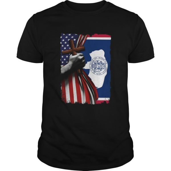 Wyoming american flag cross happy independence day shirt
