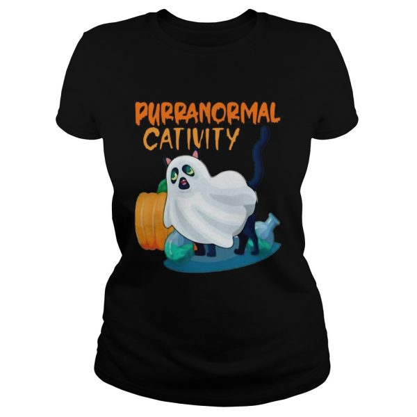 Ghost Cat Purranormal Activity Funny Halloween  Classic Ladies