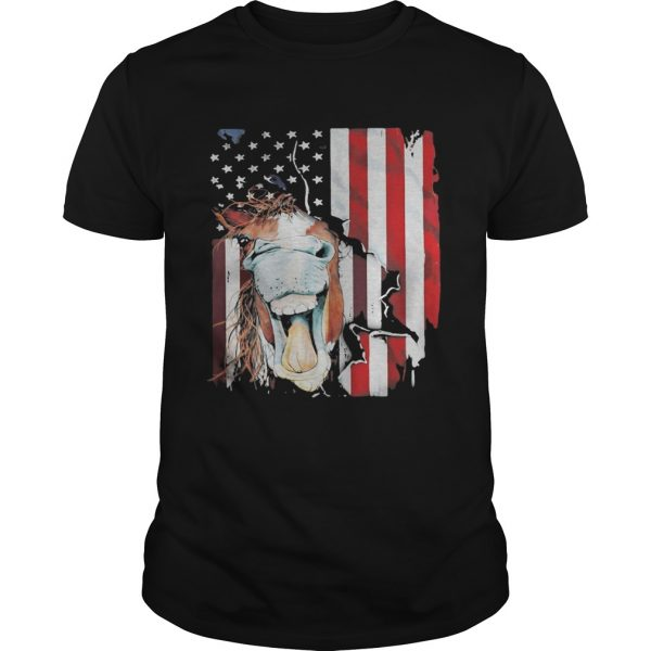 Horse American flag veteran Independence Day  Unisex