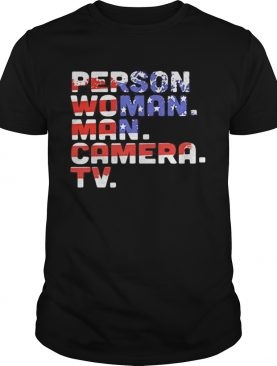 Person woman man camera tv american flag happy independence day shirt