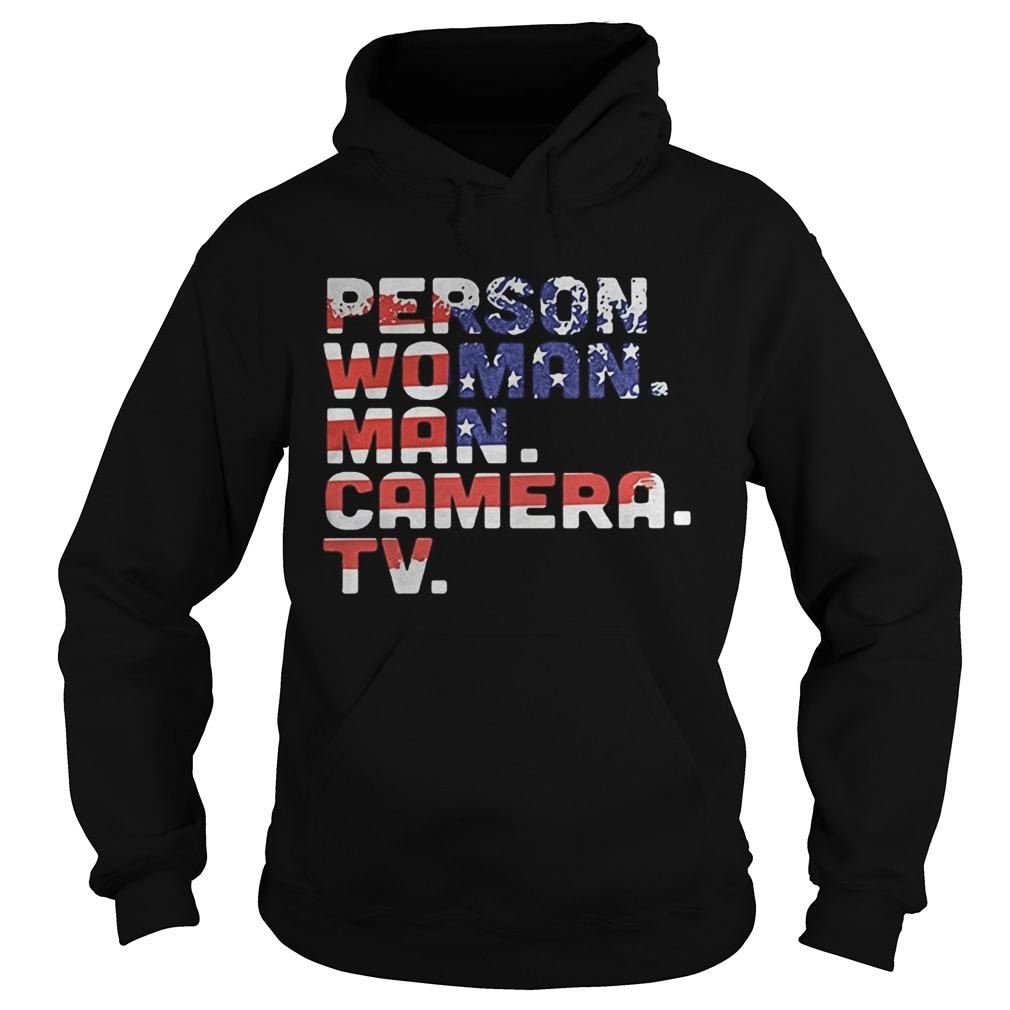 Person woman man camera tv american flag independence day Hoodie