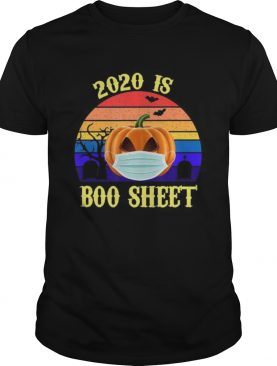 2020 Is Boo Sheet Retro Halloween Pumpkin Wearing A Mask shirt