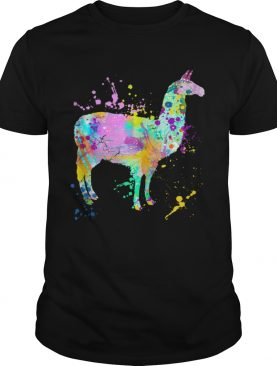 Llama Watercolor Paint Splash Artsy Love Llamas Alpaca shirt