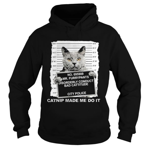 No095909 Mr Furrypants Disorderly Conduct Bad Cattitude City Police  Hoodie