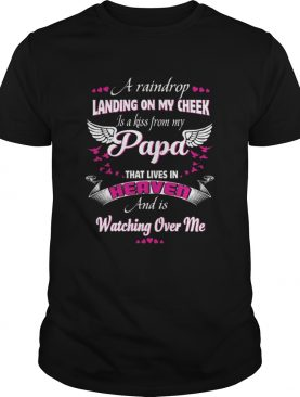 A raindrop landing on my cheek is a kiss from my pap shirt