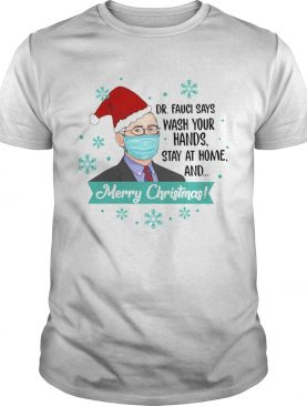 Santa DrFauci Face Mask Says Wash Your Hands Stay At Home And Merry Christmas shirt