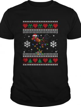 Ugly Christmas Rooster Chicken Santa Hat Lights Xmas shirt