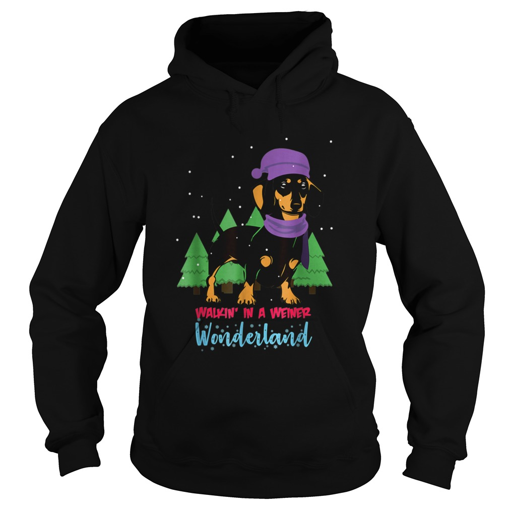 Walking In A Weiner Wonderland Dachshund Christmas Snow Hoodie